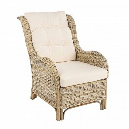 Fotel ogrodowy z naturalnego rattanu na zewnątrz z poduszkami - Supreme