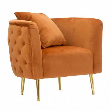 Nowoczesny fotel wypoczynkowy z aksamitu, drewna i żelaza - Ruthie