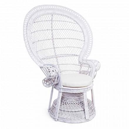 Luksusowy fotel ogrodowy z białego rattanu na zewnątrz - Serafina