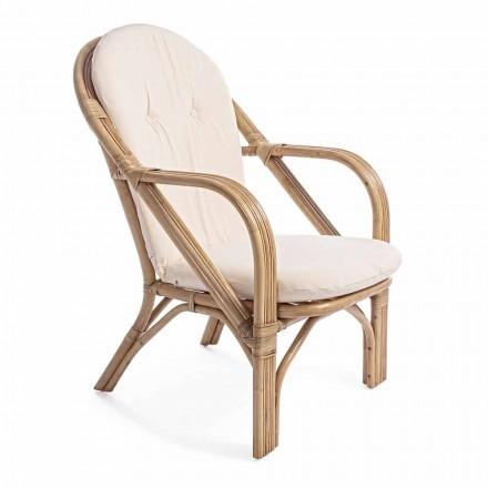 Naturalny rattanowy fotel ogrodowy ze zdejmowaną poduszką - Maurizia