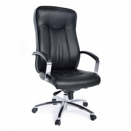 Kierunkowy obrotowy fotel biurowy ze skórzaną i metalową podstawą - Virone