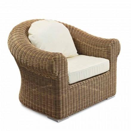 Fotel ogrodowy z tkanego syntetycznego rattanu i białej lub ecru tkaniny - Yves