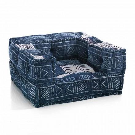 Fotel etniczny w tkaninie patchworku lub aksamicie - włóknie