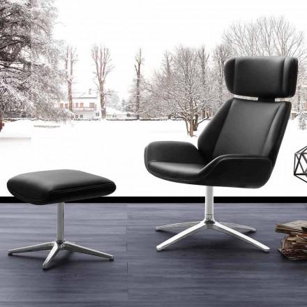 Nowoczesny fotel obrotowy z pufą ze sztucznej skóry i aluminium Amalfi