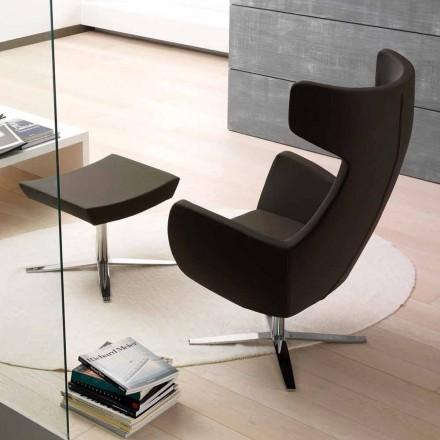 Fotel ze skóry ekologicznej z chromowaną lub czarną podstawą obrotową - Clio