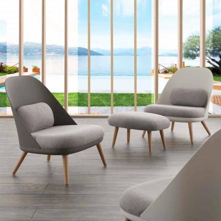 Fotel tapicerowany tkaniną, podstawa z litego drewna bukowego, Perugia