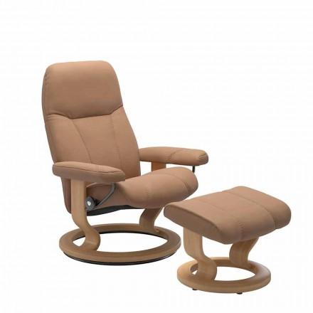 Relaksujący skórzany fotel rozkładany z osmańskim - konsulem Stressless