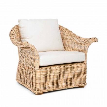 Homemotion - Fermin Etniczny fotel wewnętrzny lub kryty z rattanu