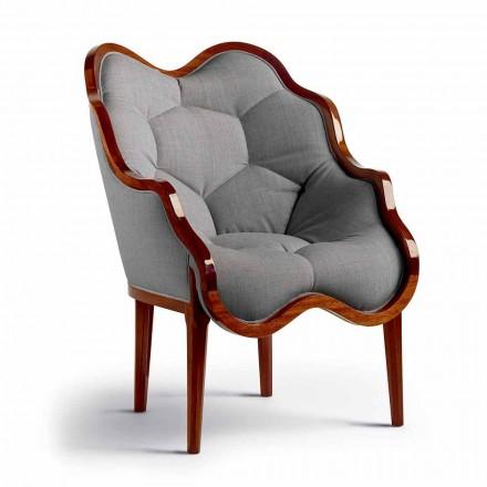 Fotel z litego drewna i materiału design made in Italy, Begga