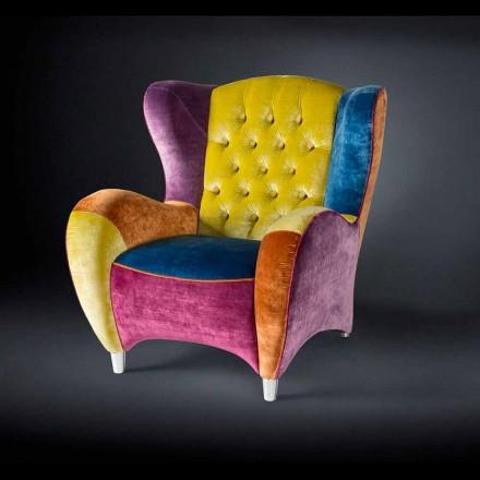 Fotel z aksamitu pikowany Schinke