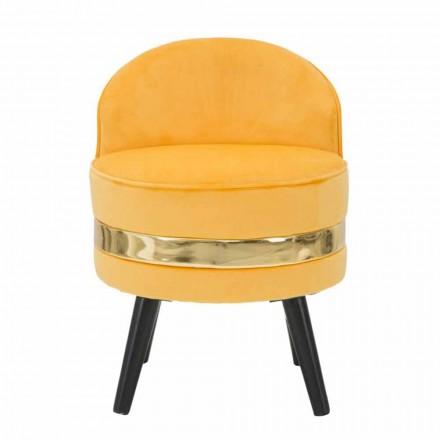 Nowoczesny kolorowy mini fotel z drewna i tkaniny - Koah
