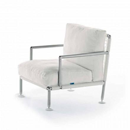 Nowoczesny fotel ze stali i czarnego lub białego PVC na zewnątrz - Ontario2