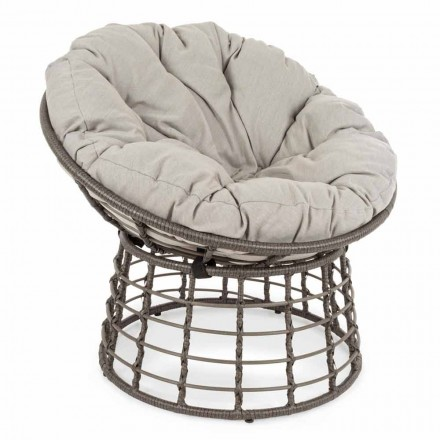 Nowoczesny fotel ze stali i syntetycznego włókna z poduszkami - Moraviglia