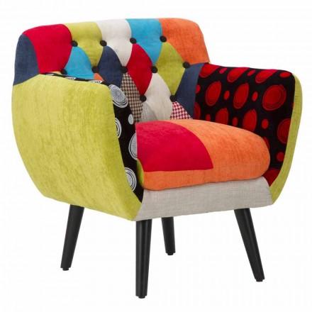 Kolorowy, patchworkowy fotel w nowoczesnym stylu z tkaniny i drewna - Koria