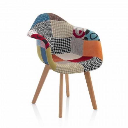 Fotel Patchwork Design z tkaniny z drewnianymi nogami, 2 sztuki - Selena