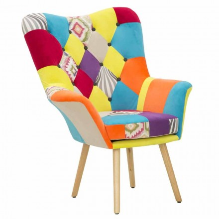 Nowoczesny fotel patchworkowy z tkaniny i drewna - Karin
