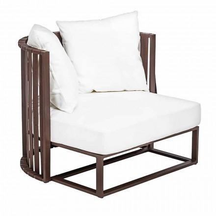 Fotel ogrodowy z aluminiowymi i luksusowymi linami w 3 wykończeniach - Julie