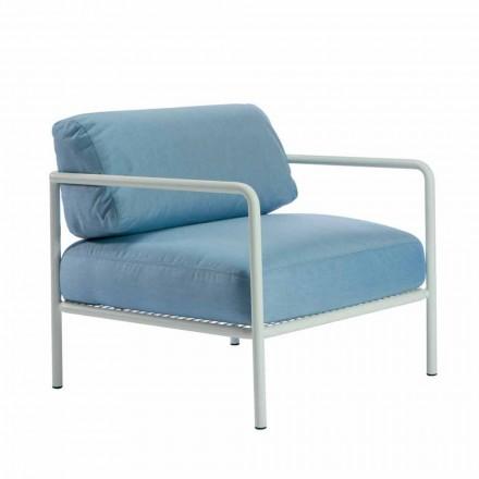 Fotel ogrodowy z podłokietnikami z tkaniny i metalu Made in Italy - Cola