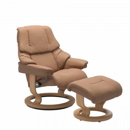 Skórzany rozkładany fotel z zagłówkiem i podnóżkiem - Stressless Reno