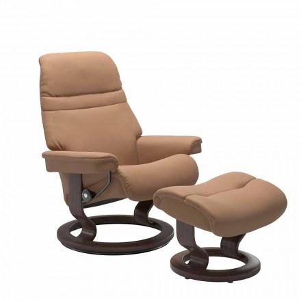 Skórzany rozkładany fotel z zagłówkiem i podnóżkiem - Stressless Sunrise