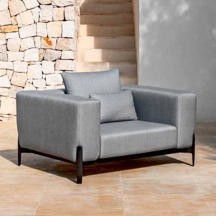 Fotel ogrodowy Relax z aluminium i tkaniny, design w 3 wykończeniach - Filomena