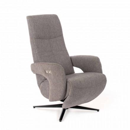Fotel Relax z 2 silnikami z melanżu i metalu - Denna