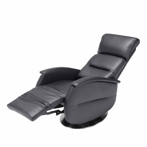 Zmotoryzowany obrotowy fotel relaks tkanina / skóra / faux skóry Gemma