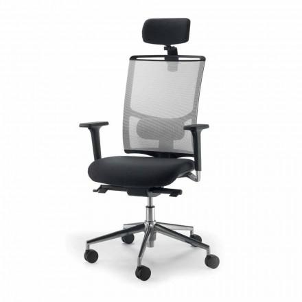 Fotel biurowy z siatki i skóry model Mina