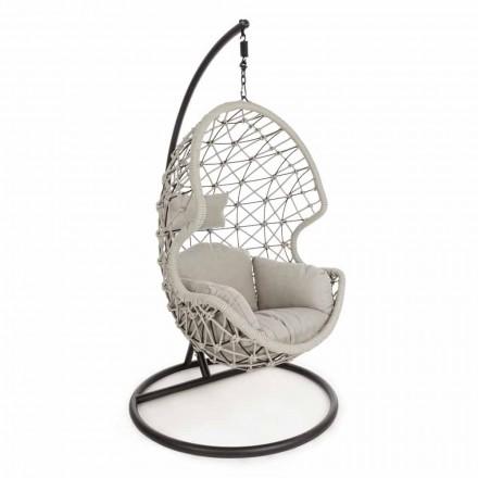 Fotel podwieszany z plecionej liny ze stalową podstawą - soja