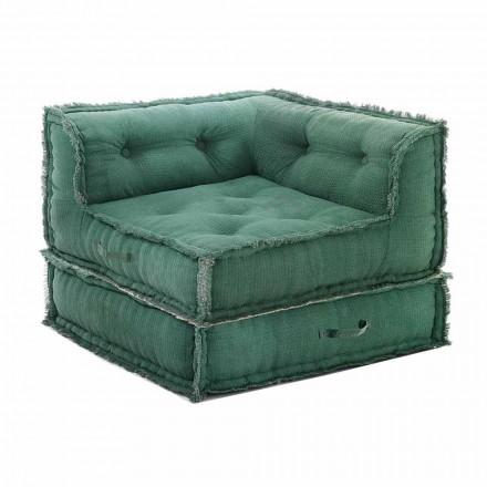 Fotel narożny szezlong z szarej, zielonej lub niebieskiej bawełny - włókno