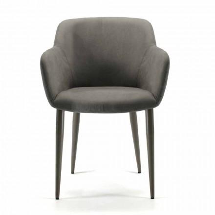 Wyprodukowany we Włoszech fotel z tkaniny lub skóry, 4 sztuki - Bardella