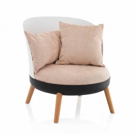 Fotel tapicerowany efektem mikrofibry Velvet i metalowymi nóżkami - Cinella