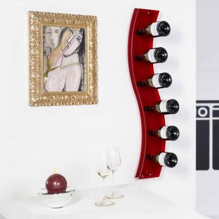 Projekt uchwyt na butelki naścienny L26.5xH100xP9cm Serry czerwony