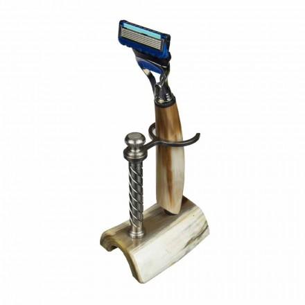 Ręcznie wykonana maszynka do golenia z rogu lub drewna z brzytwą Made in Italy - Diplo