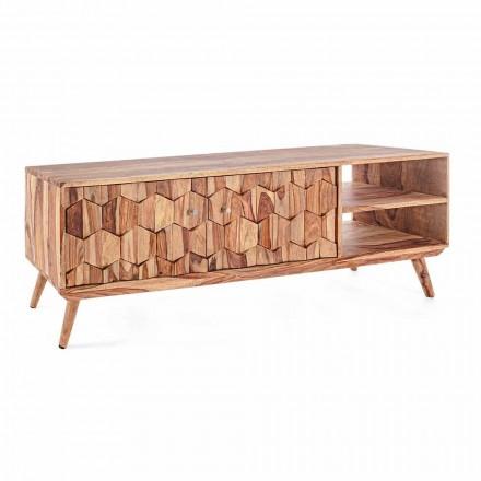 Drewniany stojak na telewizor w stylu vintage ze stalowymi gałkami Homemotion - Ventador