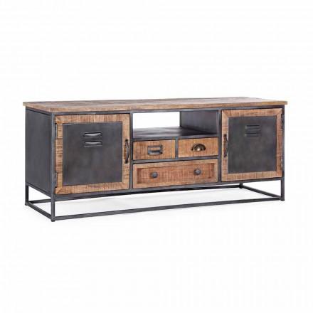 Stolik pod telewizor w stylu industrialnym z drewna mango i stali Homemotion - Rupia
