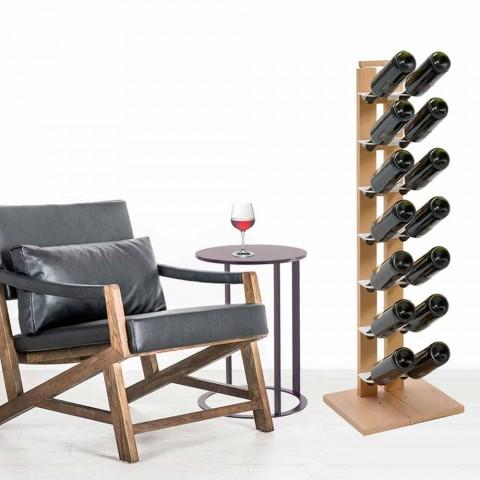 Stojak na wino Zia Gaia z drewnianymi półkami wykonany we Włoszech