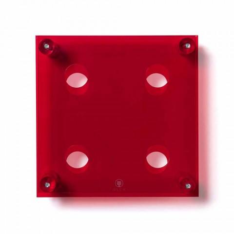 Amin Mała, czerwona ścianka, nowoczesny stojak na butelki L30xH30xP13,6cm