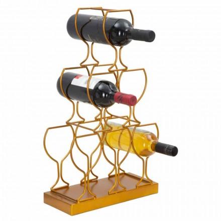 Stojak podłogowy lub stołowy na butelki 6 żelaznych butelek, nowoczesny design - Brody