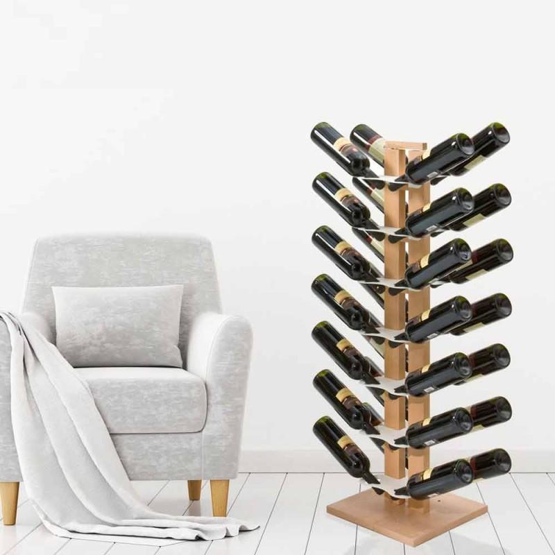 Drewniana zawieszka na butelki Zia Gaia z kolumną wykonaną we Włoszech