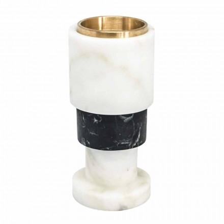 Świecznik z niskokolorowego marmuru i mosiądzu Made in Italy - Brett