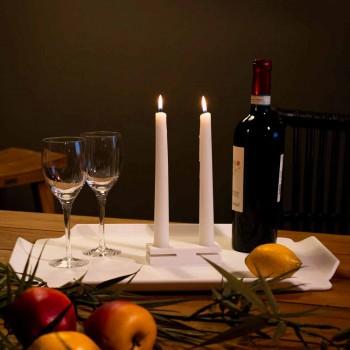 Biały świecznik Corian Design do salonu Made in Italy - Sisifo