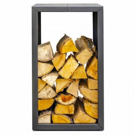 Stojak na drewno lub na zewnątrz, czarny lub Corten 45x45xH70 cm - Riviera