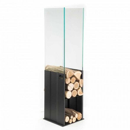 Wewnętrzny uchwyt do drewna Nowoczesny design ze stali i szkła Made in Italy - Mistral