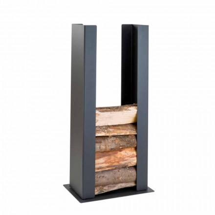 Kosz na drewno podłogowy/ścienny ze stali, PLDU