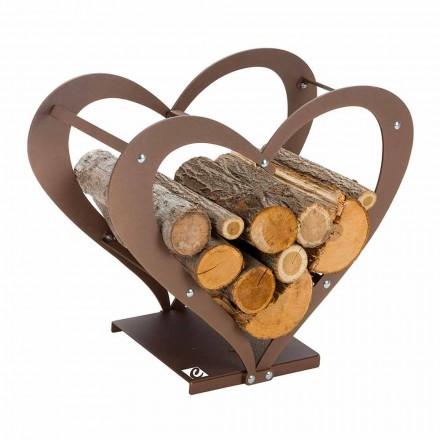 Design Wewnętrzny stalowy uchwyt na drewno opałowe Made in Italy - Cuore