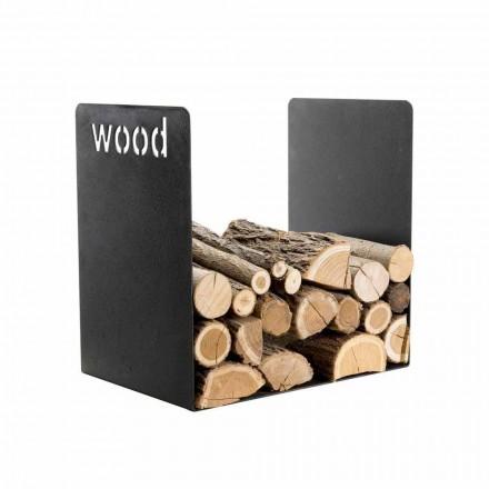 Nowoczesny uchwyt do drewna w czarnej stali Minimalistyczny design z grawerowaniem - Altano