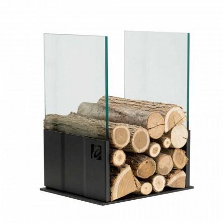 Pojemnik na drewno z stali i szkła PVP do wnętrz, Made in Italy