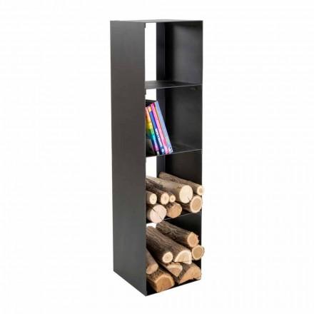 Czarny nowoczesny drewniany stojak na drewno z półkami Made in Italy - Cauro1