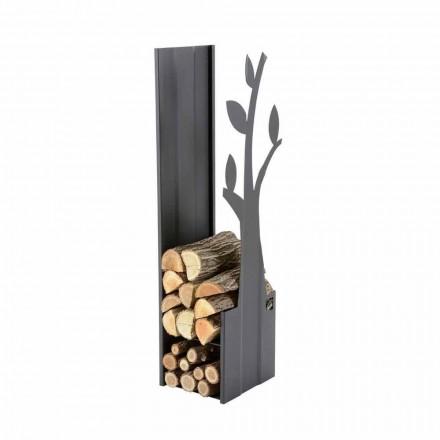 Stojak stalowy do drewna kominkowego na nowoczesny kominek - Maestrale1